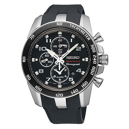 Seiko SNAE87 SNAE87P1 Mens Alarm Chronograph Watch Black WR100m