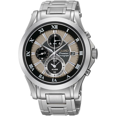 Seiko SNAF17 SNAF17P1 Premier Mens Watch Alarm Dual Time Chronograph