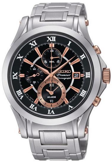 Seiko SNAF20 SNAF20P1 Premier Mens Watch Alarm WR100m Chronograph