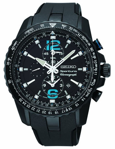 Seiko SNAF25 SNAF25P1 Sportura Mens Watch Alarm Dual Time Chronograph