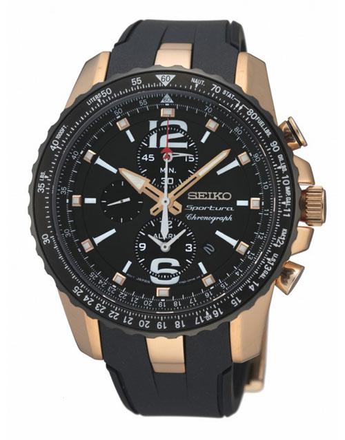 Seiko SNAF28 SNAF28P1 Sportura Mens Watch Alarm WR100m Chronograph