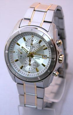 Seiko SNDB71 SNDB71P1 SNDB71P Chronograph Mens Watch Two-Tone WR100m