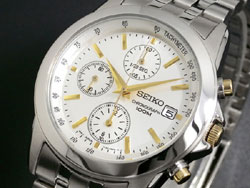 Seiko SNDC11 SNDC11P1 Mens  Two Tone White Dial Chronograph Watch