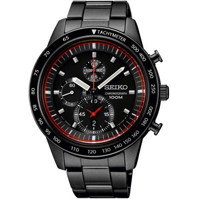 Seiko SNDD89 SNDD89P1 Mens Watch Sports Chronograph WR100m BLACK