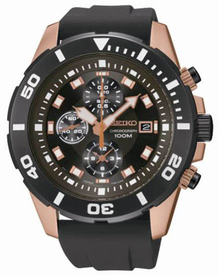Seiko SNDE04 SNDE04P1 Mens Watch Chronograph Rose Gold WR100m