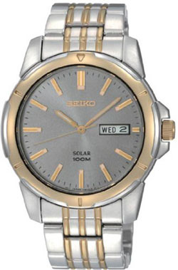 Seiko SNE098 SNE098P9 Mens two-tone Solar Watch WR100m