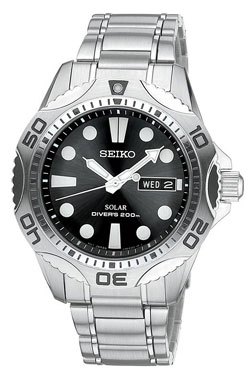 Seiko Mens SNE107 Solar Diver Watch Stainless Steel WR200m