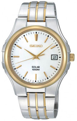 Seiko SNE132 SNE132P SNE132P1 Mens Solar Watch Stainless Steel Two Tone