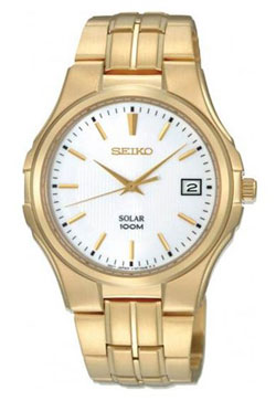 Seiko SNE134 SNE134P SNE134P1 Mens Solar Watch Stainless Steel Gold Plated