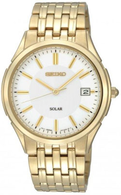 Seiko SNE138 SNE138P SNE138P1 Mens Solar Watch Stainless Steel Gold Plated