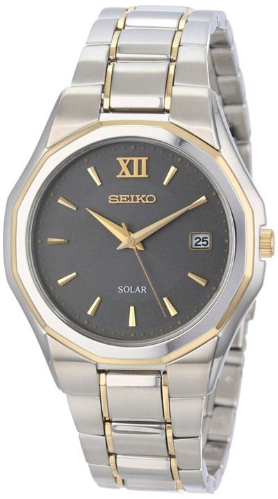 Seiko Solar SNE166 SNE166P9 Mens two-tone Watch