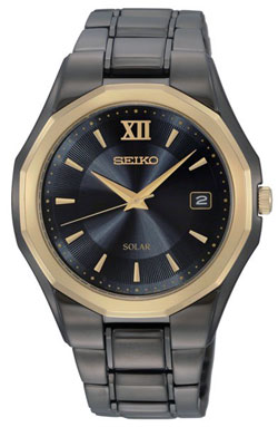 Seiko Mens two-tone Solar Watch SNE168 SNE168P9 WR100m