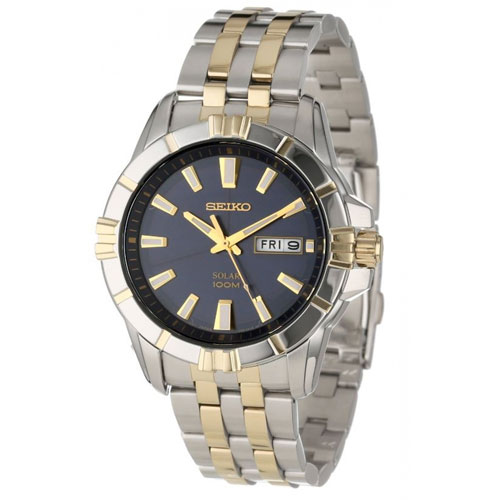 Seiko SNE176 SNE176P9 Mens Solar Watch Two-Tone WR100m
