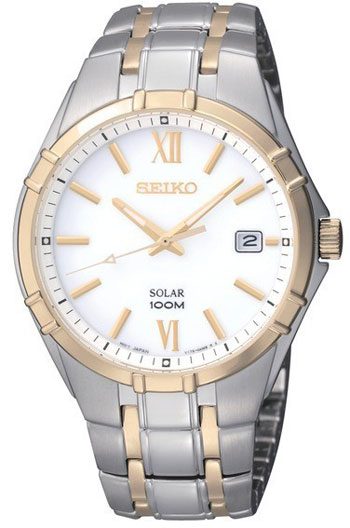 Seiko SNE216 SNE216P1 Solar Mens Watch Two-Tone WR100m