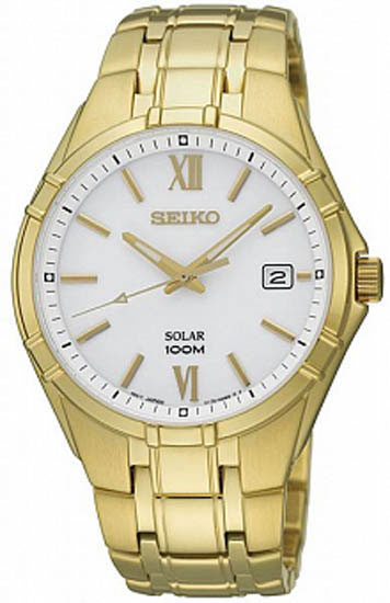 Seiko SNE218 SNE218P1 Solar Mens Watch Gold WR100m