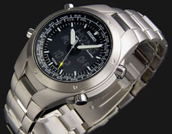 Seiko SNJ009P1 SNJ009 Titanium Worldtime Quartz watch in gift box watch