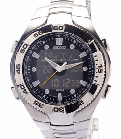 SEIKO Mens World Time Alarm Chronograph SNJ013 watch in gift box watch