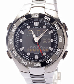 SEIKO Mens World Time Alarm Chronograph SNJ015 watch in gift box watch