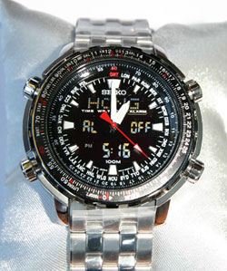 SEIKO SNJ017 World Time Flight Computer Chronograph