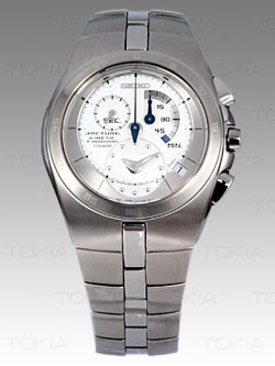 Seiko Arctura Kinetic Gents Chronograph SNL005 (Titanium Bracelet) - wrist watch