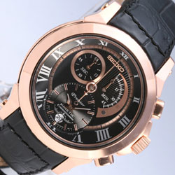 Seiko SNL044 Premier Kinetic rose gold leather band Gents Watch