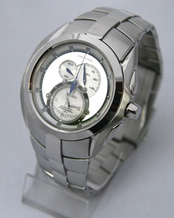 Seiko SNL045 SNL045P1 Arctura Kinetic Chronograph Mens Stainless Steel Silver Dial Watch