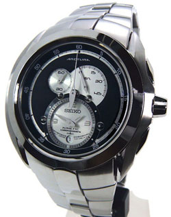 Seiko SNL047 SNL047P1 Arctura Kinetic Chronograph Mens Stainless Steel Black Dial Watch