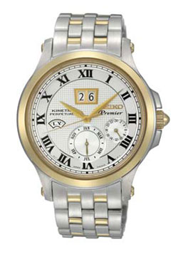 Seiko SNP042 SNP042P1 Premier Kinetic Perpetual Calendar Mens Watch