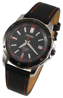 Seiko SNQ097 Mens Black Leather Strap Perpetual Calendar Watch
