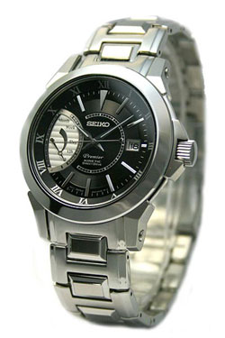 Seiko SRG001 SRG001P Mens Premier Kinetic Direct Drive Black Dial Watch