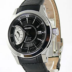 Seiko SRG001P2 SRG001P-2 Mens Premier Kinetic Direct Drive Black Dial Watch