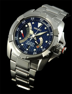 Seiko SRH003 SRH003P1 Mens Velatura Kinetic Direct Drive Yachting Watch Blue Dial Watch