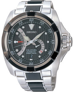 Seiko SRH005 SRH005P1 Mens Velatura Kinetic Direct Drive Yachting Watch Black Dial Watch