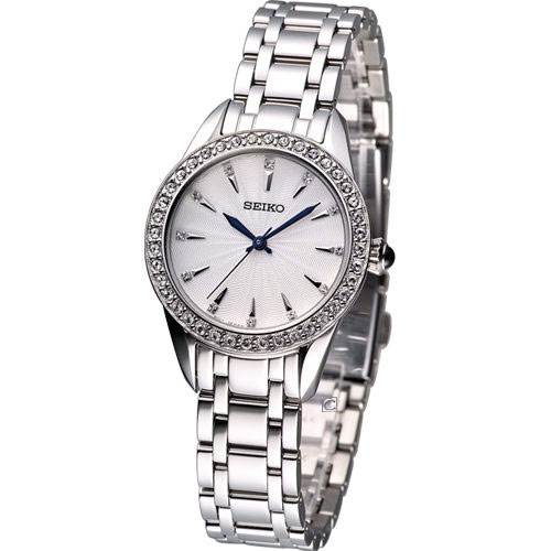 Seiko SRZ385 SRZ385P1 Ladies Watch WR50m Crystal Cabochon Crown