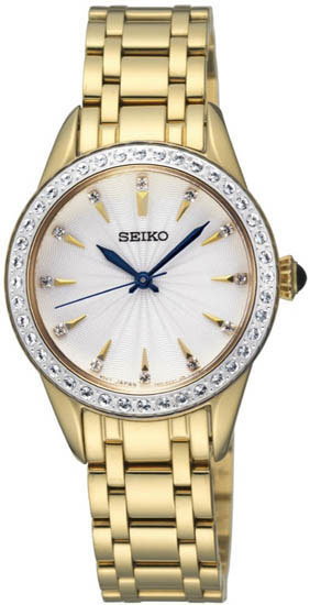 Seiko SRZ386 SRZ386P1 Ladies Watch Crystal Cabochon Crown GOLD