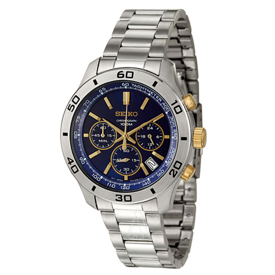 Seiko SSB055 SSB055P1 Mens Chronograph Watch WR100m Blue Dial