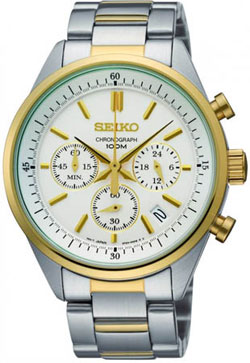 Seiko SSB064 SSB064P1 Mens Watch Chronograph Two-Tone WR100m
