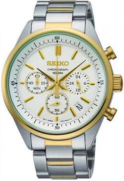 Seiko SSB064 SSB064P1 Mens Watch Chronograph Two-Tone WR100m