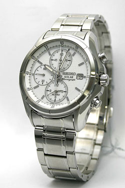 Seiko SSC003 SSC003P SSC003P1 Mens Watch Stainless Steel Solar Quartz Alarm Chronograph Silver Tone Dial