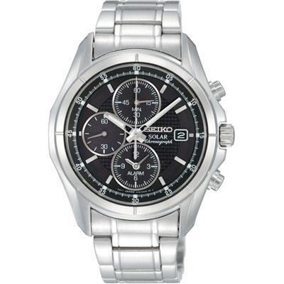 Seiko SSC005 SSC005P1 Solar Mens Alarm Watch Chronograph WR100m