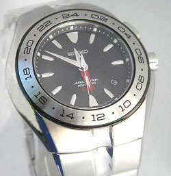 Seiko SUN003 Mens Stainless Steel Arctura Kinetic GMT Black Dial Watch