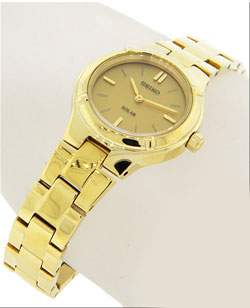 Seiko SUP068 SUP068P1 Solar Ladies Watch Gold