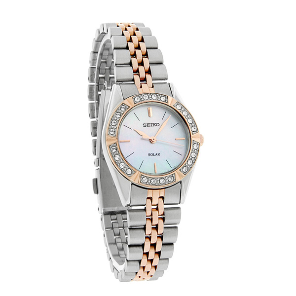 Seiko SUP112 SUP112P1 Solar Ladies Watch two-tone Rose Gold