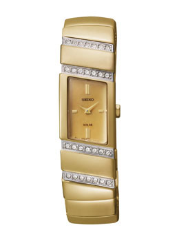 Seiko SUP168 SUP168P1 Ladies Solar Watch Gold Bracelet Crystal