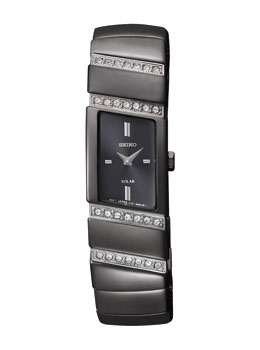 Seiko SUP169 SUP169P1 Ladies Solar Watch Black Bracelet Crystal