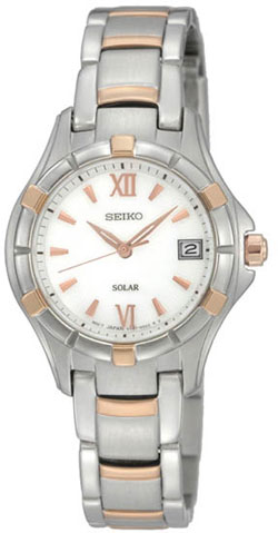 Seiko Solar SUT030P1 SUT030 SUT030P Ladies Watch Two Tone