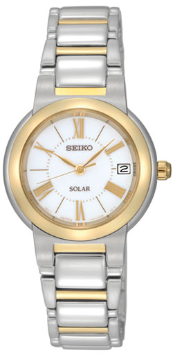 Seiko Solar SUT034P1 SUT034 SUT034P Ladies Watch Two Tone