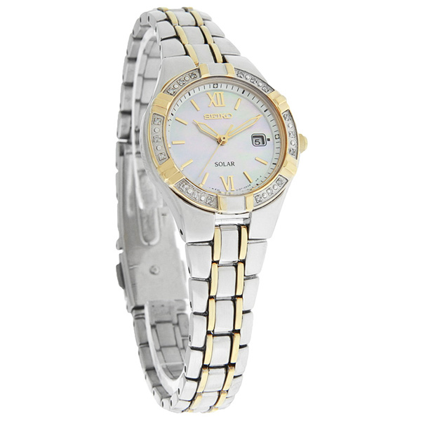 Seiko SUT068 SUT068P1 Solar Ladies Two-Tone Diamond Dress Watch