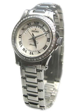 Seiko Premier SXD773 SXD773P Ladies stainless steel watch with real Diamonds
