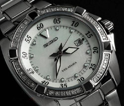 Seiko Velatura SXDA19 SXDA19P1 Diamond Bezel Mother of Pearl Dial real Diamonds Ladies watch